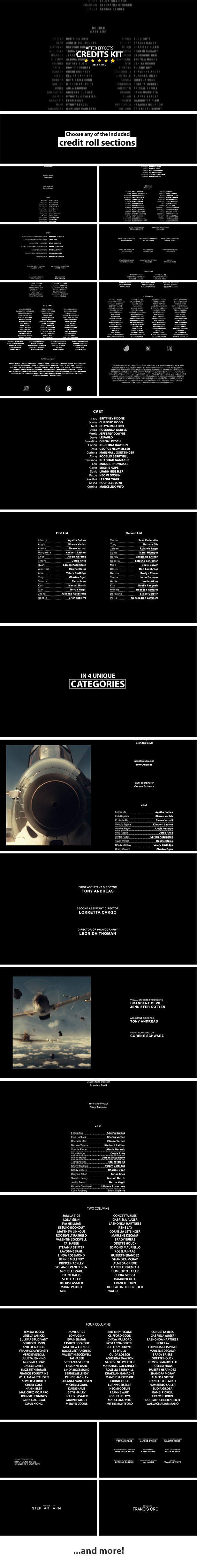 AE模板-4K电影滚动标题视频片尾字幕演员表动画