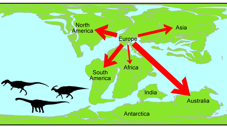 Map of dinosaur movement during the Early Cretaceous period