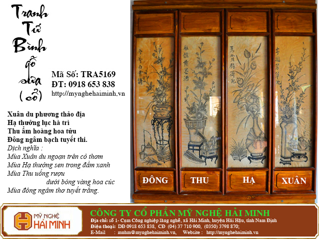 TRA5169k Tranh Tu Binh go Sua Co do go mynghehaiminh