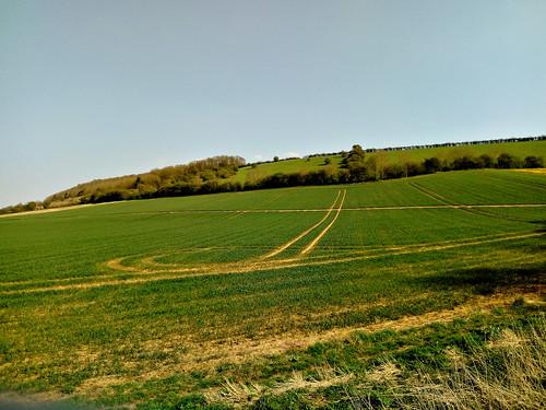 Crossing open countryside