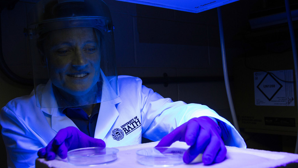 Dr Olivier Reelfs with the UV lamp.