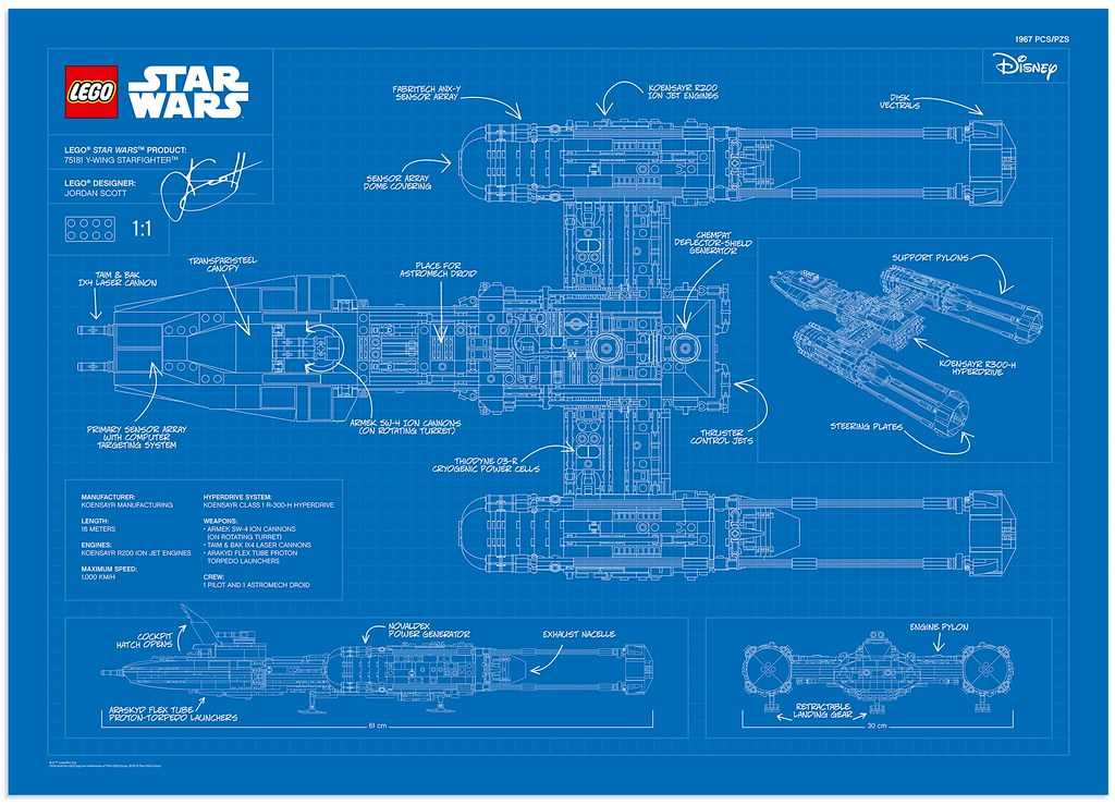 LEGO Star Wars UCS Y-Wing Starfighter Blueprint Poster in … | Flickr
