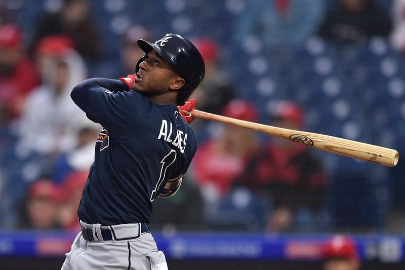 勇士二壘手Ozzie Albies在新人球季已有2支滿貫全壘打。(達志影像資料照)