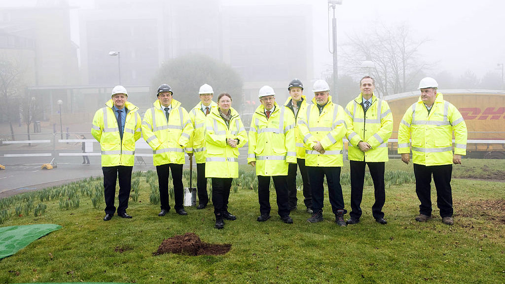 Dame Glynis gathers with members of the Department of Estates and the contractor Vinci to mark the start of works