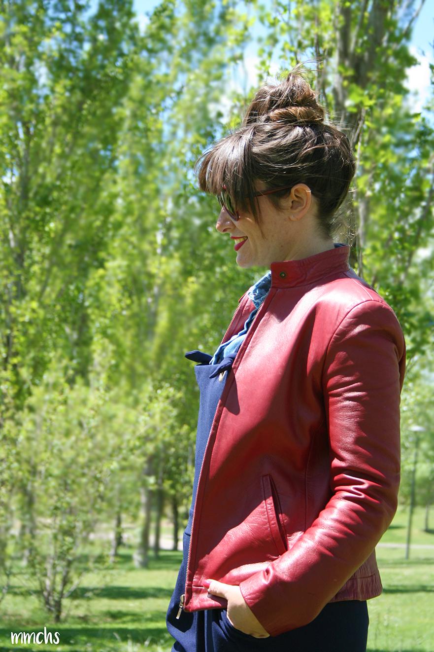 chaqueta de piel roja de mujer Massimo Dutti