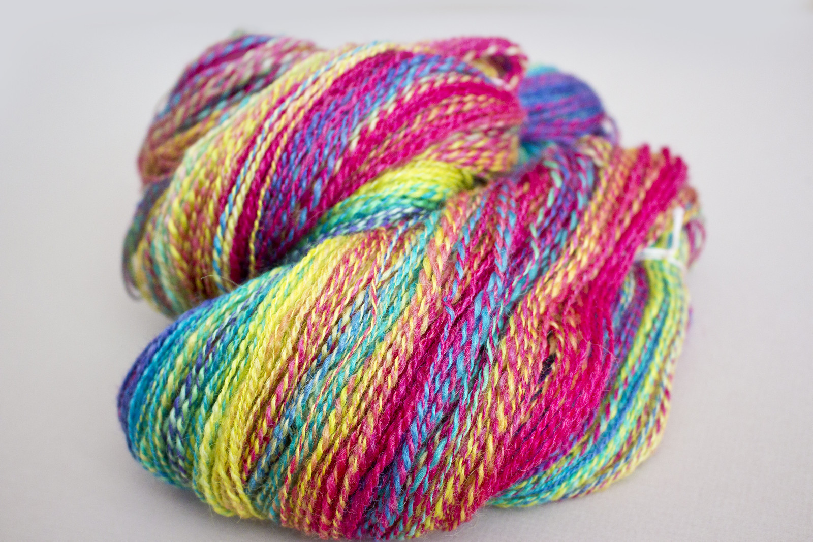 Handspun yarn in bright colours