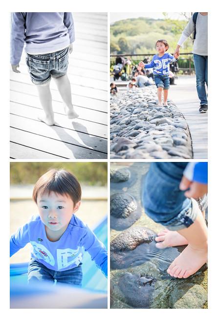 モリコロパーク(愛知県長久手市)の水辺エリアで遊ぶ3歳の男の子