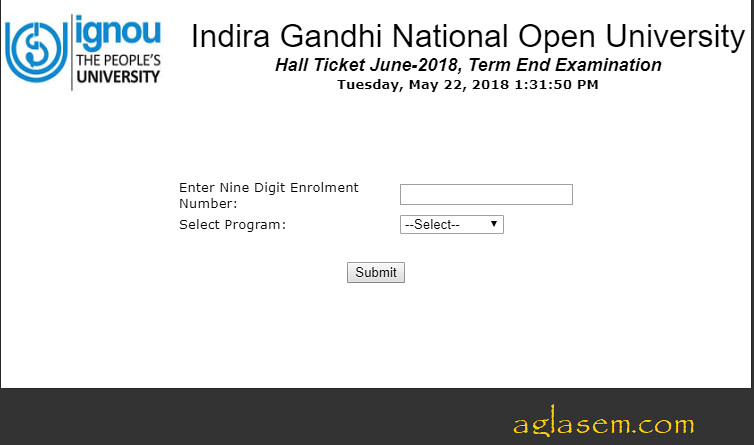 IGNOU Hall Ticket June 2018
