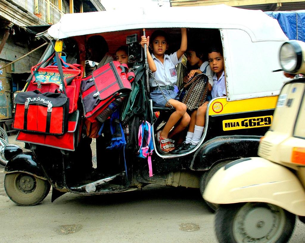 bus and rickshaws