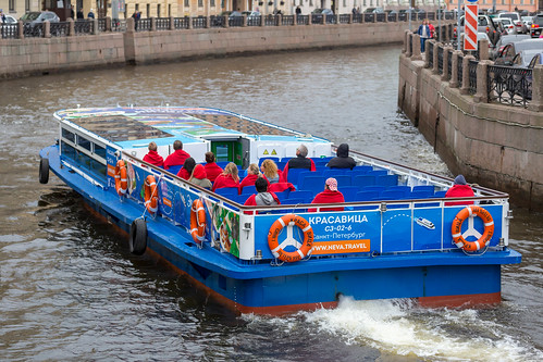Sightseeing boat on the Moyka River in Saint Petersburg | by marcoverch