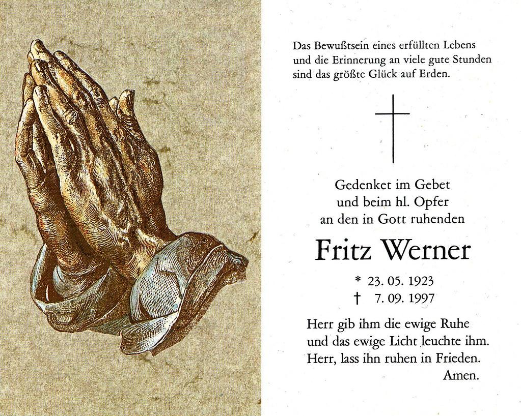 Totenzettel Werner, Fritz † 07.09.1997