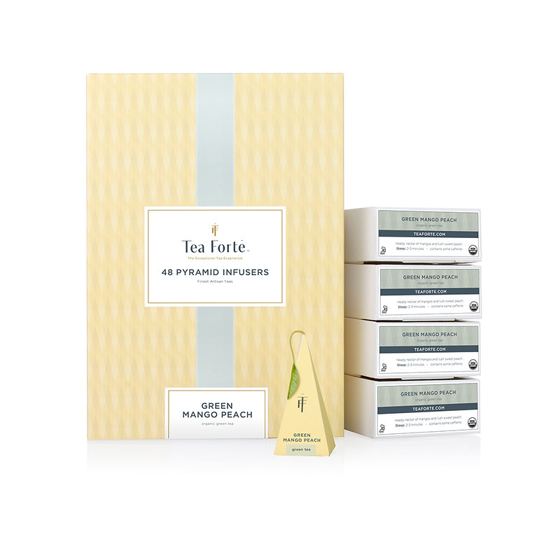 Tea Forte 48 Into Pyramid Silk Tea Bag - Honey Tree Peach Green Tea