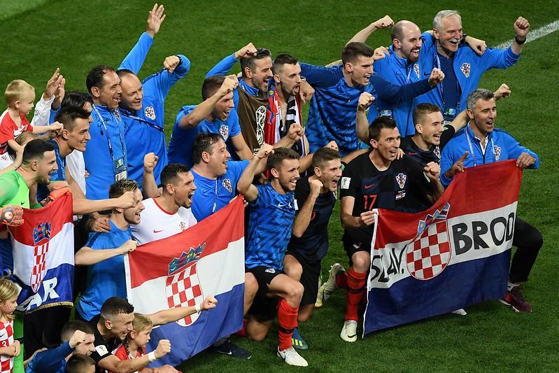 克羅埃西亞慶祝準決賽獲勝。(AFP授權)