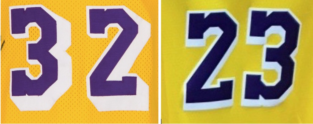 83045976d Let s compare the original block-shadowed numbers from a game-used Magic  Johnson jersey with the new ones from the Modell s photo — old numbers on  the left