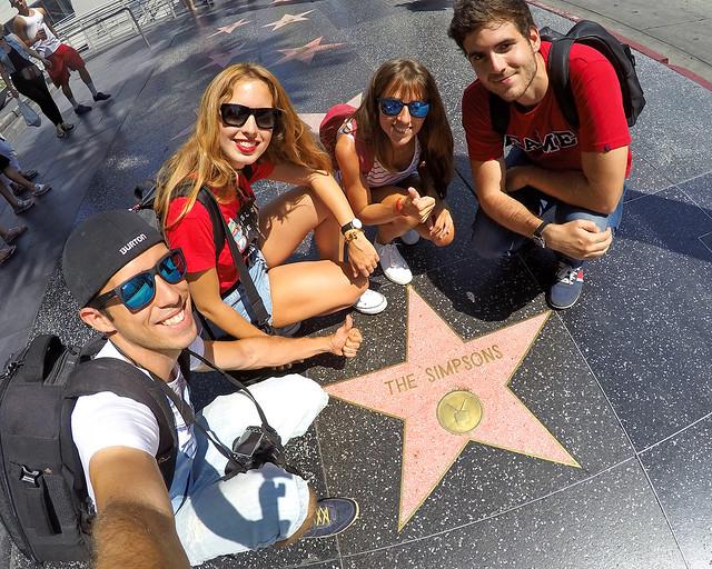 Paseo de la fama de Los Angeles con la estrella de Los Simpsons