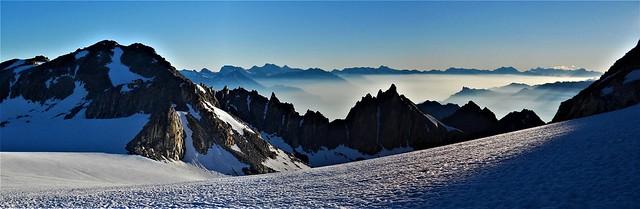 Cabane d'Trient above the Trient glacier plateau