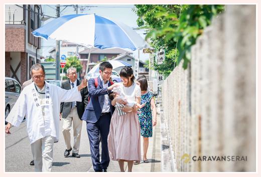 渋川神社(愛知県尾張旭市)へのお宮参り(100日祝い)写真を出張撮影
