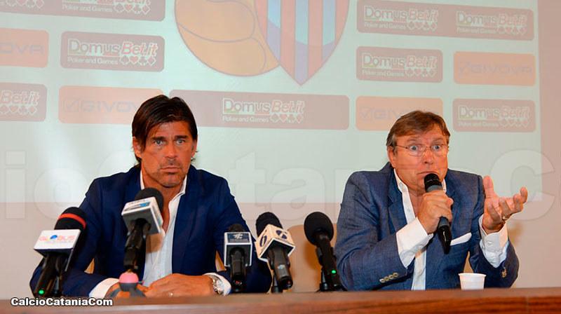Andrea Sottil insieme a Pietro Lo Monaco nella conferenza stampa odierna