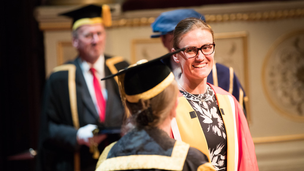 Major Heather Stanning OBE receiving her honorary degree at the University's summer award ceremonies