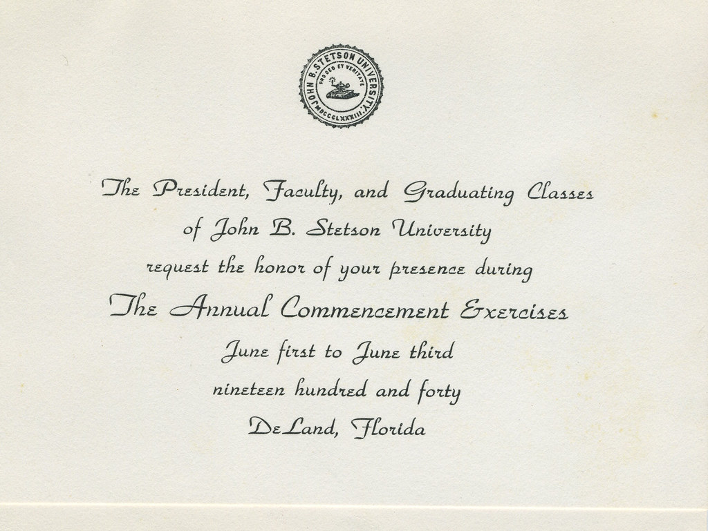 stetson university graduation invitation 1940 from the ro flickr