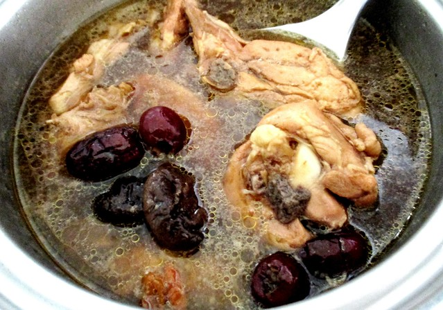 Traditional red wine chicken soup