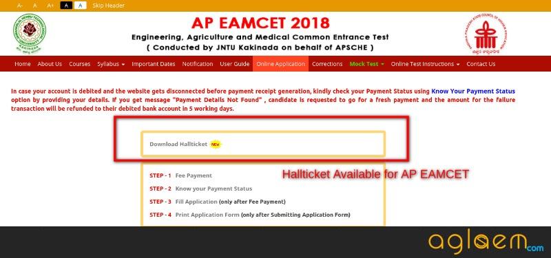 AP EAMCET 2018 Hall Ticket