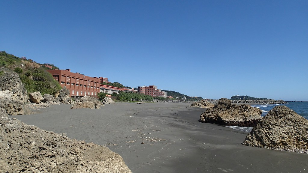 中山大學海科院外淤積的漂砂填滿海岸