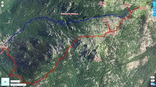 Photo aérienne Géoportail du secteur Bocca di Monacu - Giannucciu avec la trace suivie en rouge plein et la trace prévue en pointillés bleus