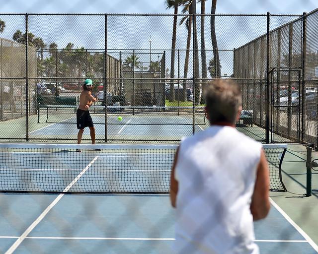 Pistas de tenis en la playa de Venice
