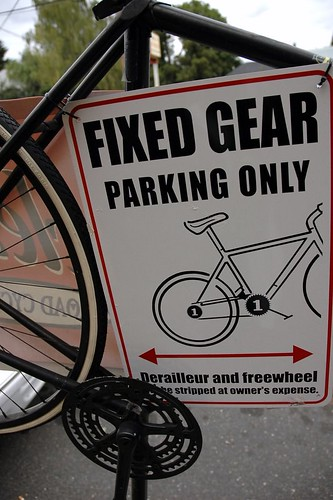 fixed gear sign | by BikePortland.org