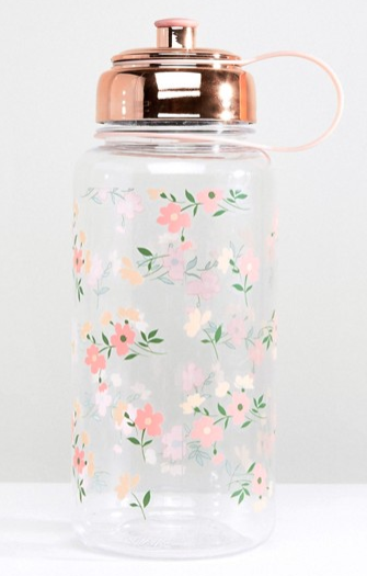 flower print water bottle