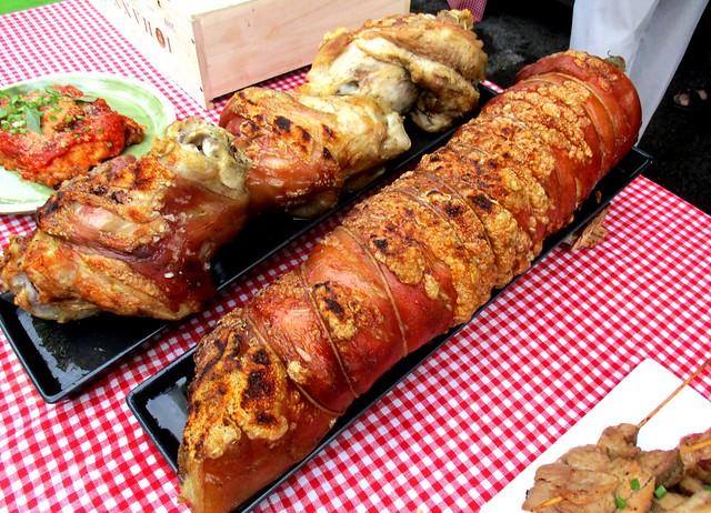 Roast pork trotters
