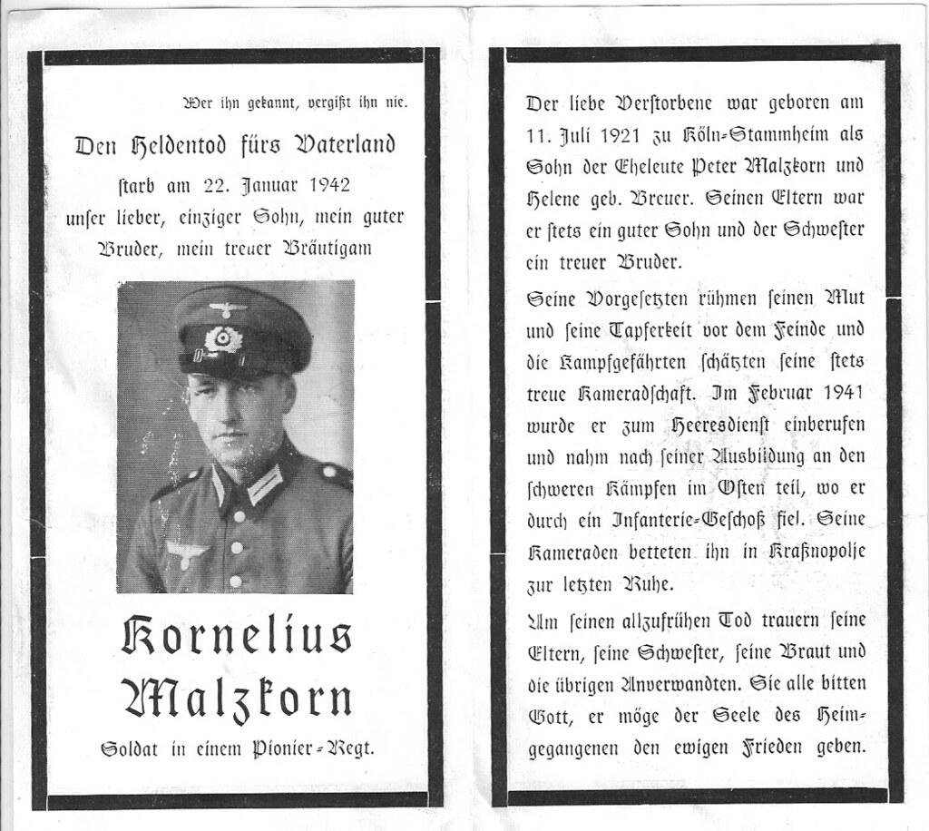 Totenzettel Malzkorn, Kornelius † 22.01.1942