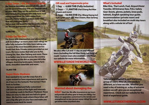 Brochure Lets Ride Motorbike Tours Chiang Mai Thailand 2