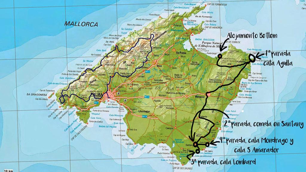 plano de Palma de Mallorca con recorridos