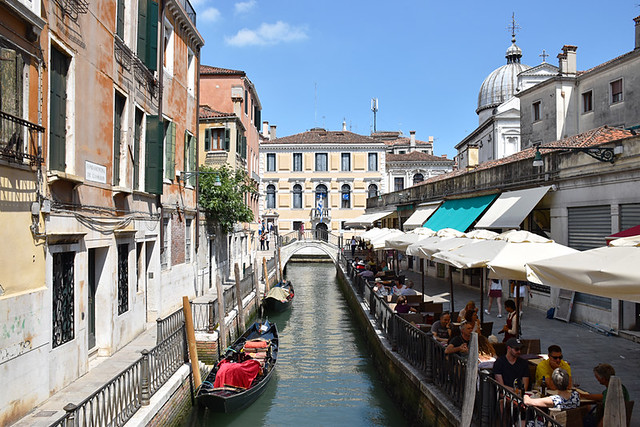 Restaurants by canal, Venice