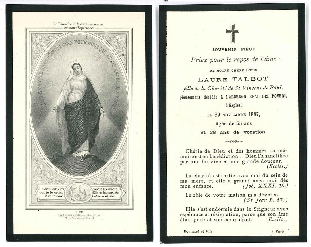 Totenzettel Schwester Laure † 29.11.1887