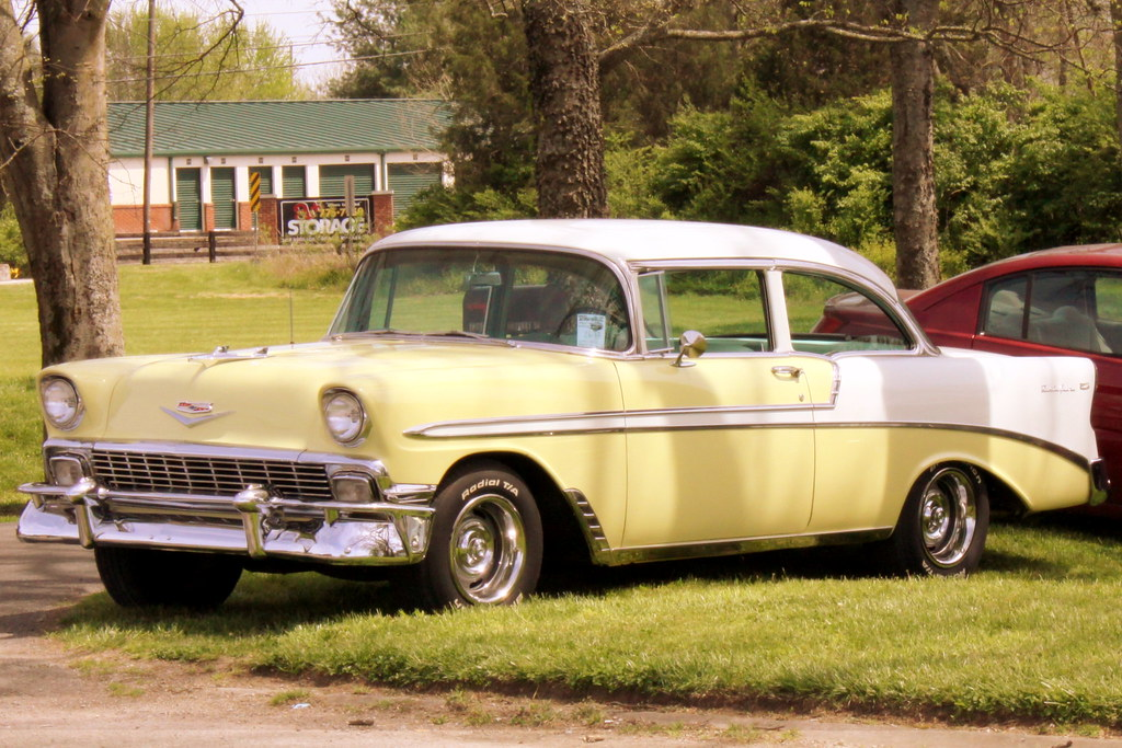 1956 chevy bel air 2 door sedan this yellow 1956 chevrolet flickr. Black Bedroom Furniture Sets. Home Design Ideas