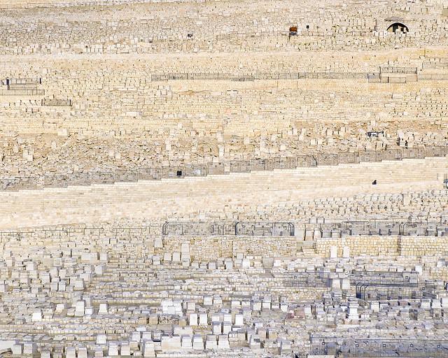 Tumbas del cementerio judío de Jerusalén en el monte de los olivos
