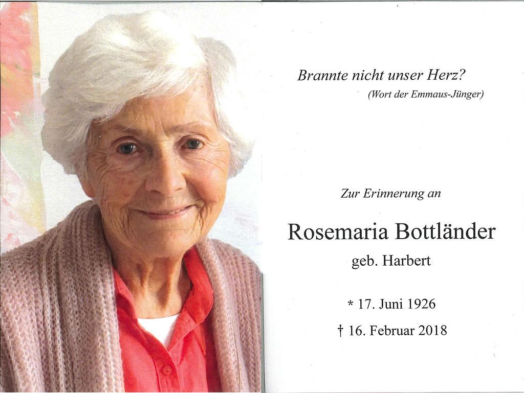 Totenzettel Bottländer, Rosemarie † 16.02.2018