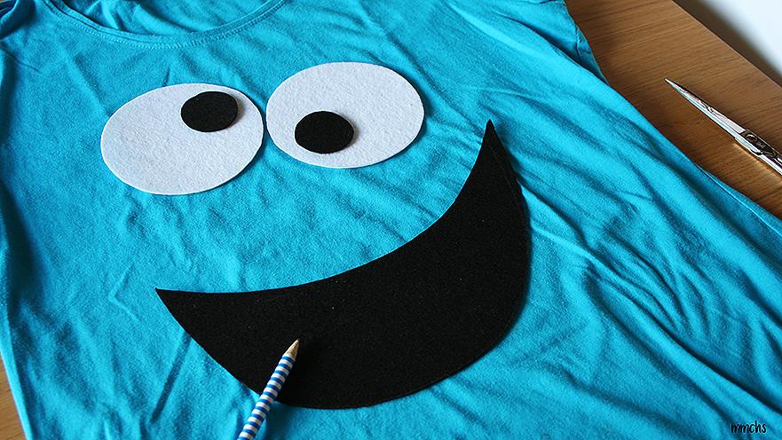 ef1e9eeae coser ojos y boca de triki cómo hacer una camiseta de COCO casera