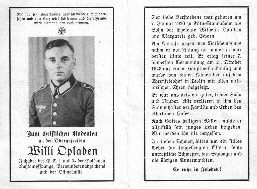 Totenzettel Opladen, Willi † 21.01.1943