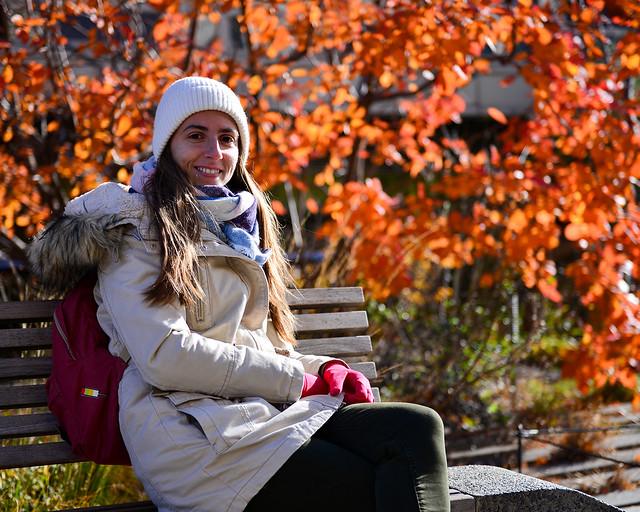 Diana en uno de los bancos de High Line de Nueva York