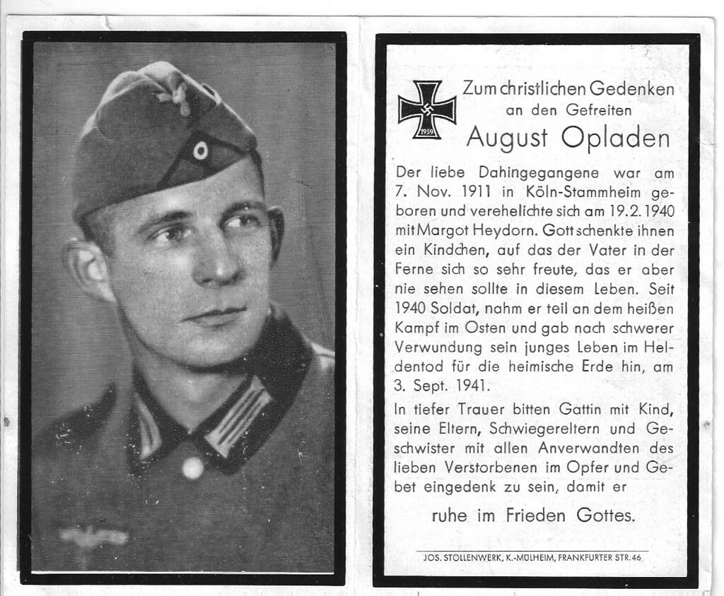 Totenzettel Opladen, August † 03.09.1941