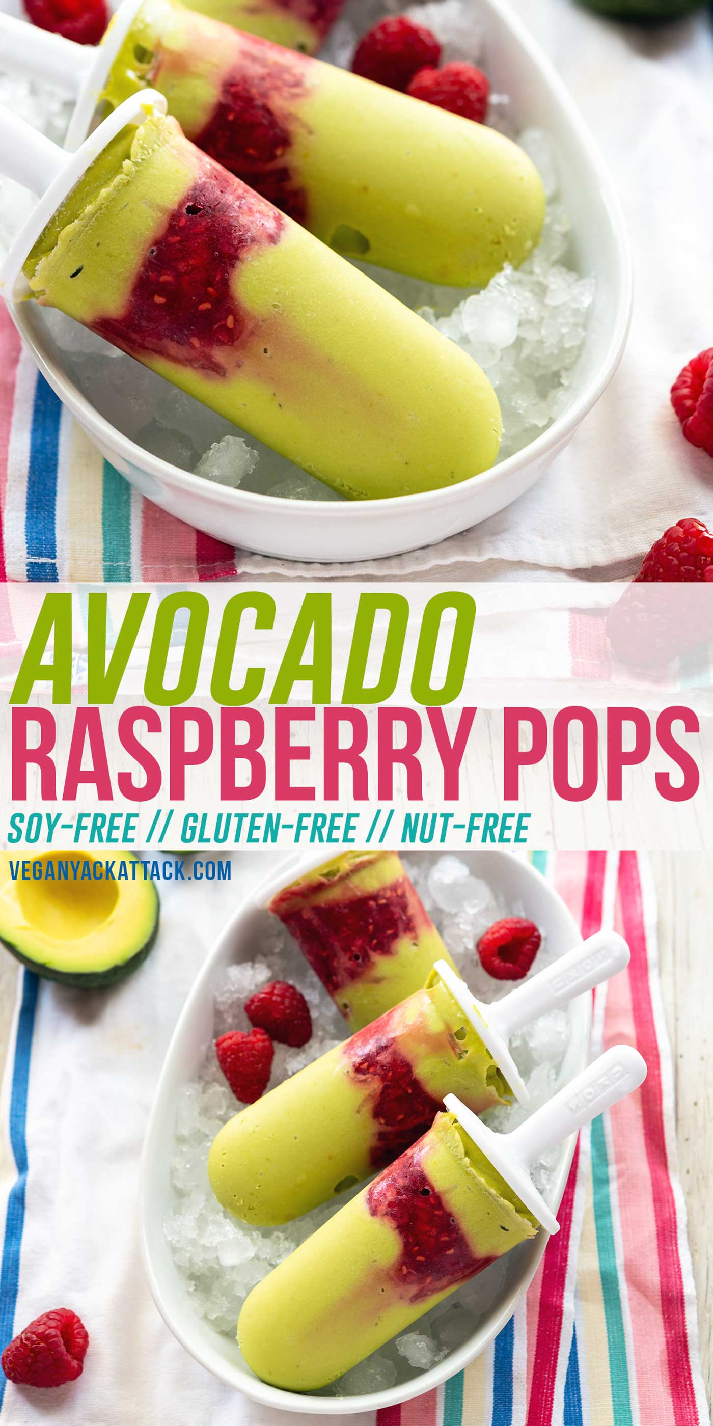 Ultra-creamy, plant-based popsicles made with avocados, lemon, and tart raspberries! These Avocado Raspberry Pops take only 7 ingredients, and are soy-free, nut-free, and vegan.