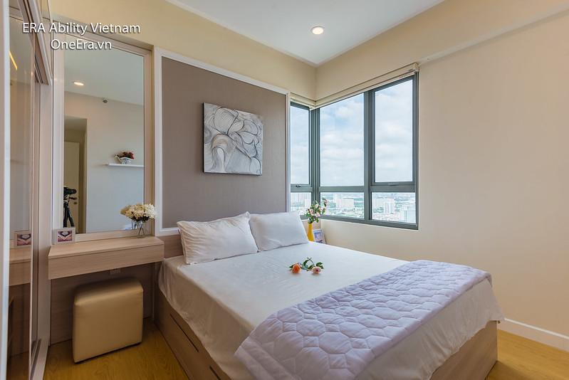 phòng ngủ Căn góc Masteri Thảo Điền tầng cao cho thuê dài hạn