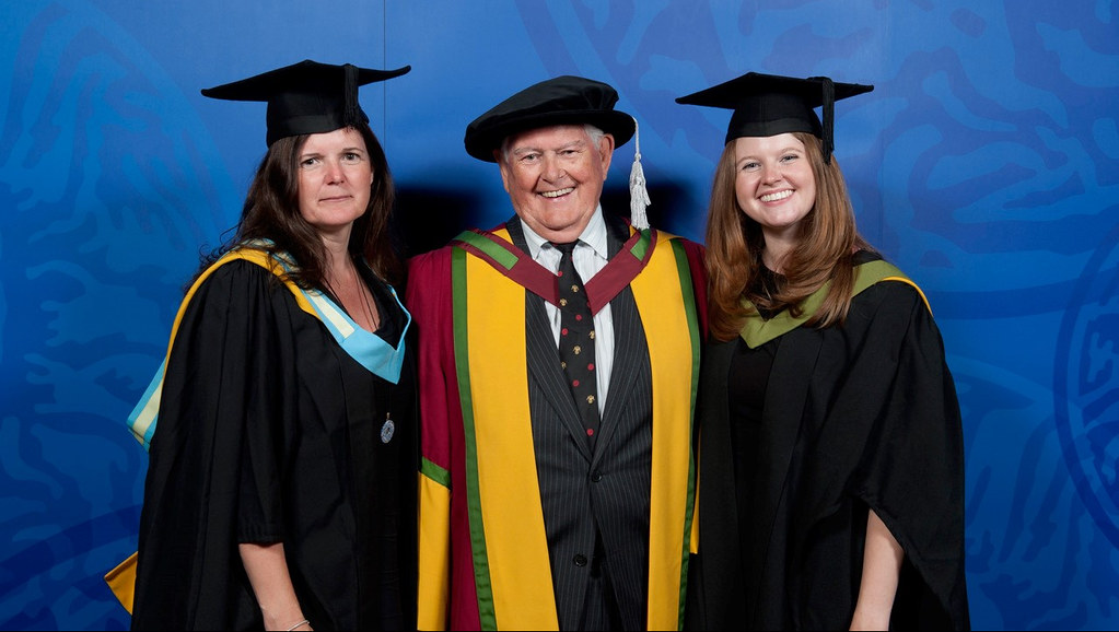 Professor Jeff Thompson with daughter, Lynda, and granddaughter, Emily, who both graduate this week.