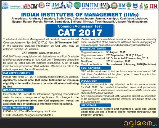 CAT 2017 Notification