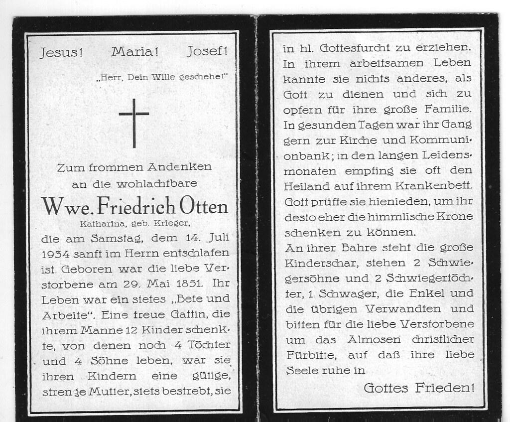 Totenzettel Krieger, Katharina † 14.07.1934