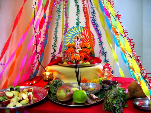 Ganpati decoration i did all the decoration for Background decoration for ganpati